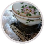 Nostalgia - Old Lace And Lamp Base Round Beach Towel