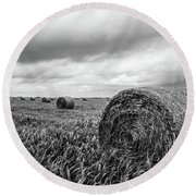 Nostalgia - Hay Bales In Field In Black And White Round Beach Towel