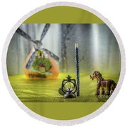 Not For Your Quirks Friend Stands Nearby Round Beach Towel
