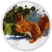 Not Much Goes On In The Mind Of A Squirrel Round Beach Towel