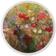 Nothing But Flowers Round Beach Towel