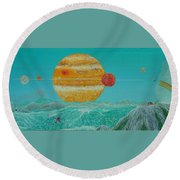 Nothing But Teal Skies Do I See Round Beach Towel