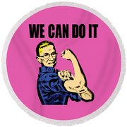 Notorious Rbg Ruth Bader Ginsburg We Can Do It Pop Art Round Beach Towel