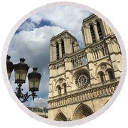 Notre Dame And Lamppost Round Beach Towel