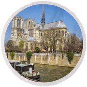 Notre Dame And The Seine Round Beach Towel