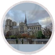 Notre Dame Cathedral In Paris, France Round Beach Towel