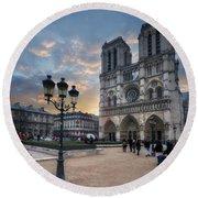 Notre Dame Cathedral Paris 2.0 Round Beach Towel