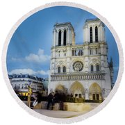 Notre Dame Cathedral Paris 3 Round Beach Towel
