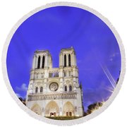 Notre Dame Cathedral Paris Round Beach Towel