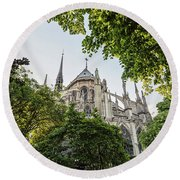 Notre Dame Cathedral - Paris, France Round Beach Towel