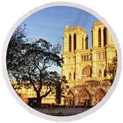 Notre Dame De Paris Facade Round Beach Towel