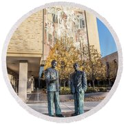 Notre Dame Library And Statue Round Beach Towel