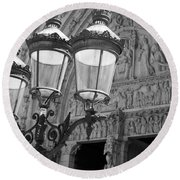 Notre Dame Street Lights Paris France Black And White Round Beach Towel