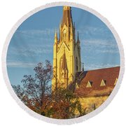 Notre Dame University Basilica Of The Sacred Heart Round Beach Towel