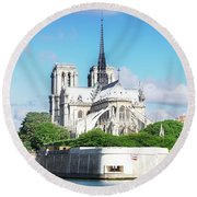 Notre Dame Over Water Round Beach Towel