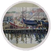 Nova Scotia Boats At Rest Round Beach Towel