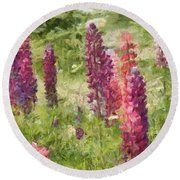 Nova Scotia Lupine Flowers Round Beach Towel