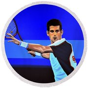 Novak Djokovic Round Beach Towel by Paul Meijering