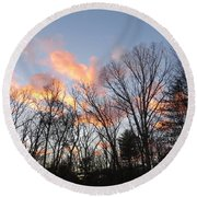 November At Twilight Round Beach Towel