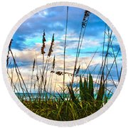 November Day At The Beach In Florida Round Beach Towel