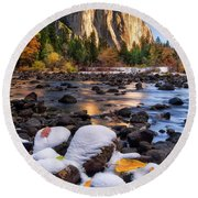 November Morning Round Beach Towel