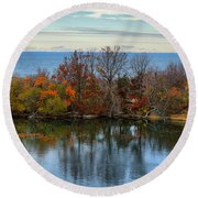 November Reflections Round Beach Towel