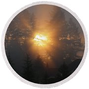 November Sunrise - 1 Round Beach Towel