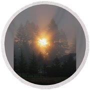 November Sunrise 2 Round Beach Towel