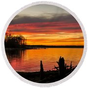 November Sunset Manasquan Reservoir Nj Round Beach Towel
