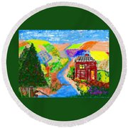 Now, Where Did He Disappear To? Round Beach Towel