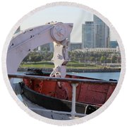 Interior Of Lifeboat Queen Mary Round Beach Towel