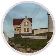 Nubble At Sunset Round Beach Towel