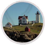 Nubble Light 4 Round Beach Towel