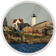Nubble Light House Beach View Round Beach Towel