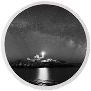 Nubble Lighthouse Milky Way Pano Bw Round Beach Towel