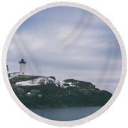 Nubble Lighthouse Overcast  Round Beach Towel