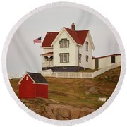 Nubble Lighthouse Shed And House Round Beach Towel