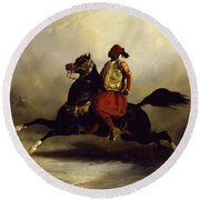 Nubian Horseman At The Gallop Round Beach Towel