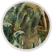 Nude And Arums Round Beach Towel