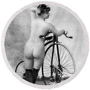 Nude And Bicycle, C1885 Round Beach Towel