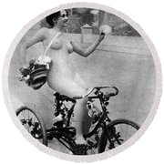 Nude And Bicycle, C1900 Round Beach Towel
