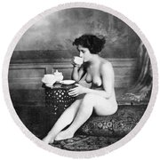 Nude Drinking Tea, 19th Ct Round Beach Towel