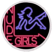 Nude Girls Neon Sign Round Beach Towel