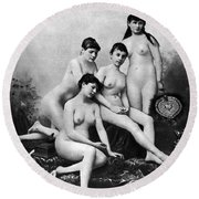 Nude Group, 1889 Round Beach Towel