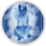 Nude In Blue Round Beach Towel