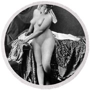 Nude In Bonnet, C1885 Round Beach Towel