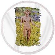 Nude In Field Round Beach Towel