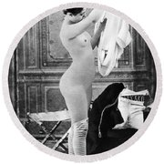 Nude In Stockings, C1880 Round Beach Towel