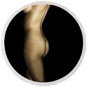 Nude On Black Round Beach Towel by Bob Orsillo