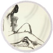 Nude Study, Girl Sitting On A Flowered Cushion Round Beach Towel